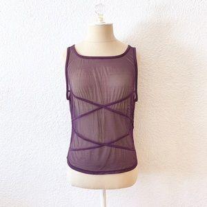 Vintage 90s Purple Sheer Ribbed Womens Tank Top